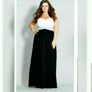 CITY CHIC | maxi contrast Camilla dress sweetheart
